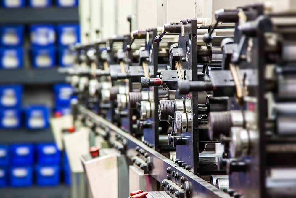Rows of industrial printers