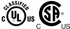 UL/cUL/CSA Certified